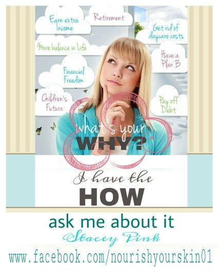 Whats your WHY?  www.facebook.com/nourishyourskin01