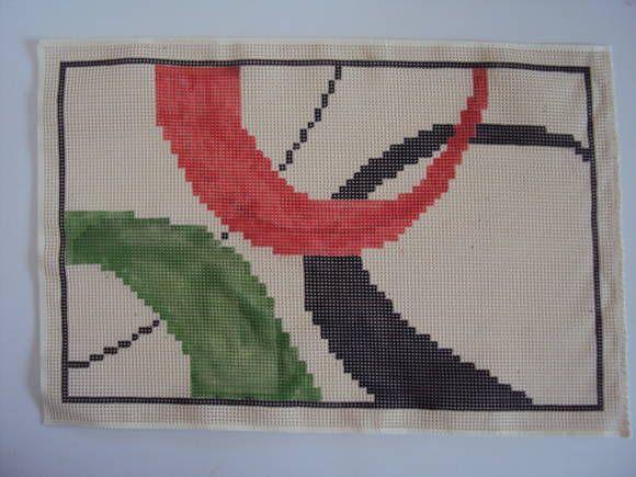 talagarça pintada à mão com ponto contado duplo indicada para qualquer ponto de tapeçaria R$ 37,00