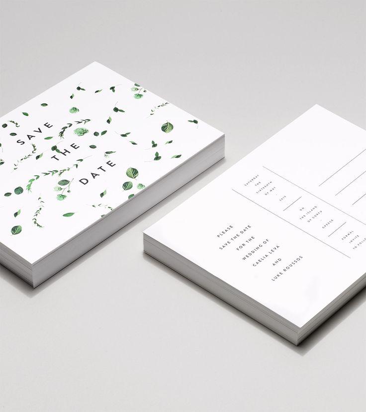 Modern, botanical, minimal wedding invitations | Venamour - Viridan Collection