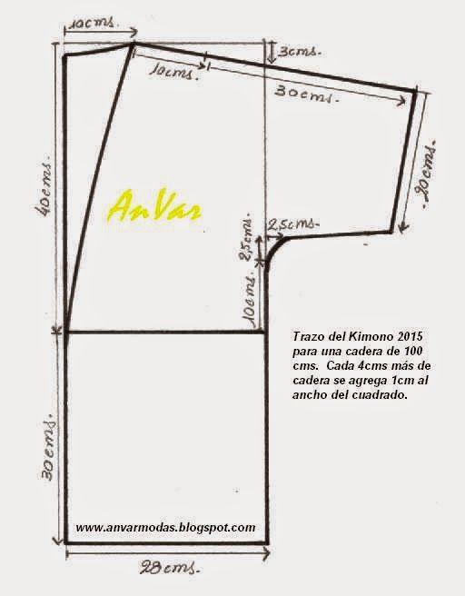 AnVar - Te enseño a coser: KIMONO 2015 - TRAZO DEL PATRÓN