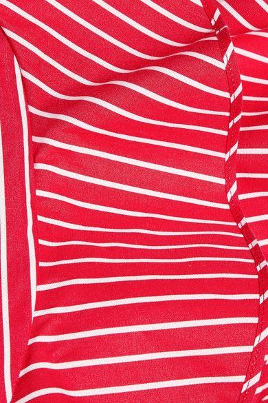 MSGM - Ruffled Striped Cotton-poplin Jumpsuit - Red - IT40