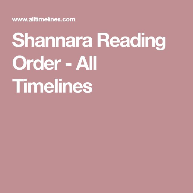 Shannara Reading Order - All Timelines