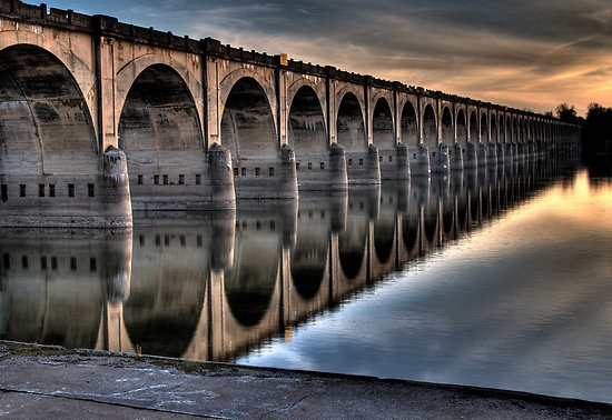 Susquehanna River in Harrisburg, Pa...  The Rockville Bridge, the longest stone arch bridge in the world.