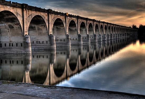 Susquehanna River in Harrisburg, Pa...  The Rockville Bridge, the longest stone arch bridge in the world.