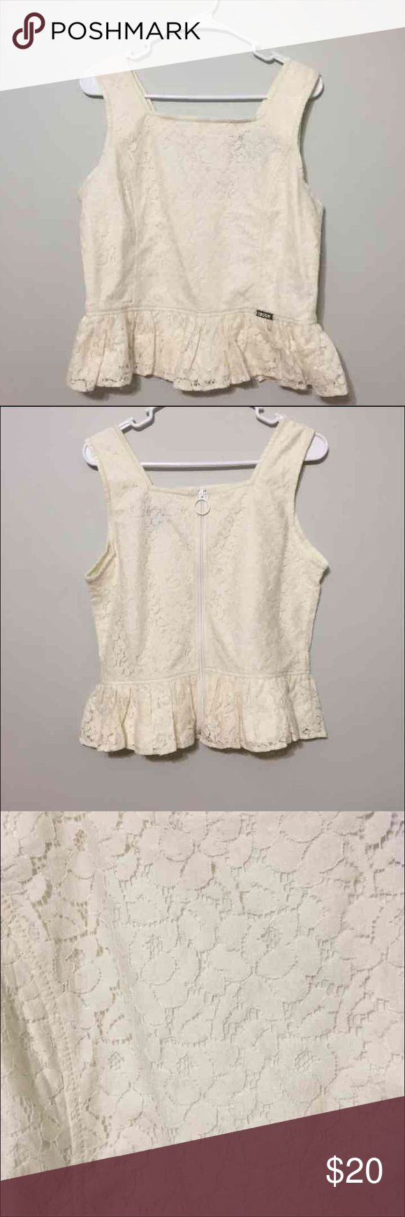 Superdry Lace Structured Top L Ivory Lace Superdry Tops