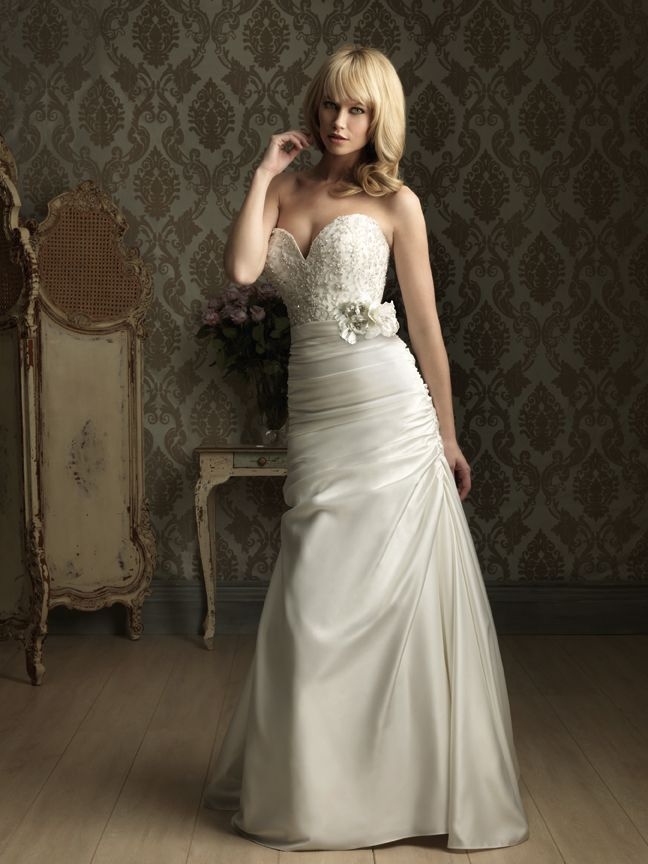Allure Bridals 8857 - This fitted A-line gown features satin and embroidery. The strapless bodice has a sweetheart neckline with embroidery and crystal accents. A floral band defines the natural waistline. Brides of Melbourne | Sleek and Slinky | Bridal Gown
