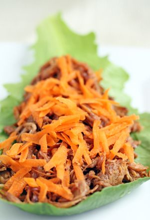 Sesame Pulled Pork Lettuce Wraps -   Ingredients:  About 1 pound BBQ pulled pork, cooked in slow cooker   3 Tbsp soy sauce   2 tsp sesame oil   1 tsp garlic powder   1 tsp onion powder   1 tsp ground ginger   Dashes of pepper  Large or small lettuce leaves from the garden  1 medium carrot, peeled and grated   Side dish ideas – pineapple, cooked sweet potatoes