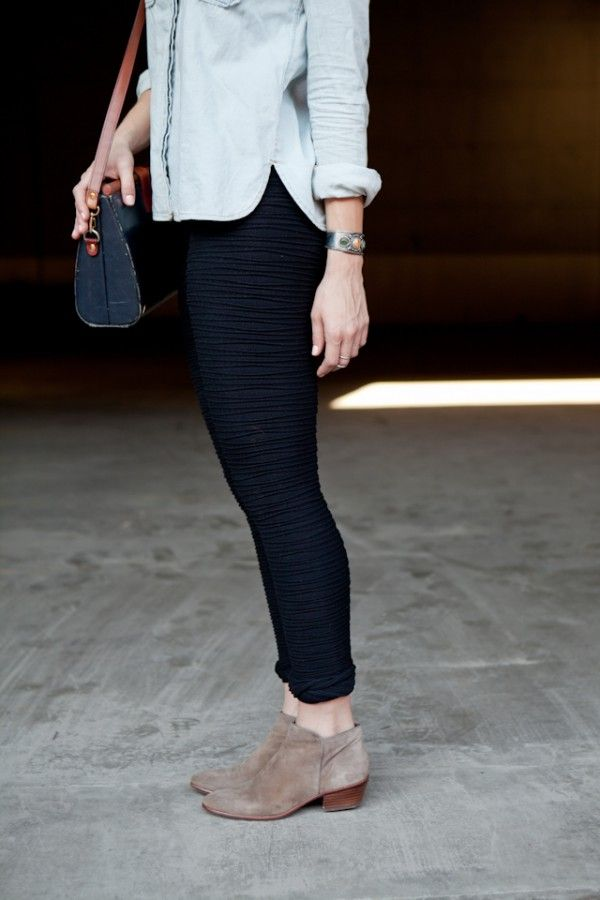 For a classic, casual look, pair your leggings with a chambray button up & suede booties for fall.