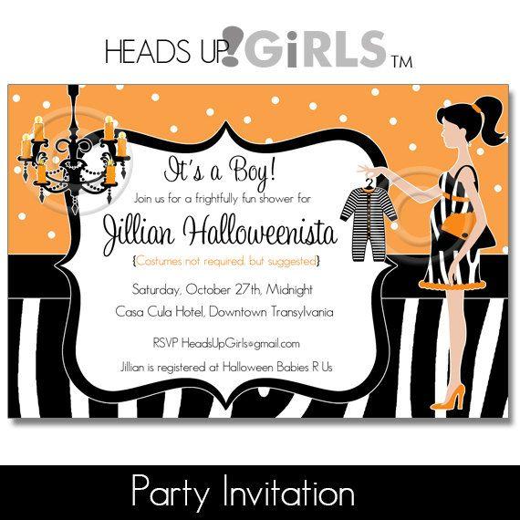 Personalized Halloween Zebra Mod Mom Baby Shower By HeadsUpGirls, $1.50