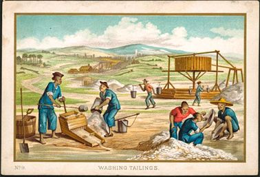 'Washing Tailings', Ten Australian Views, C.1870s. Courtesy National Library of Australia - showing Chinese prospectors on the gold fields