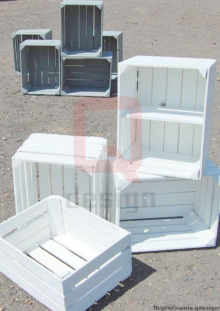 Białe skrzynki dekoracyjne ich wymiar: 50x40x30 cm Styl Skandynawski