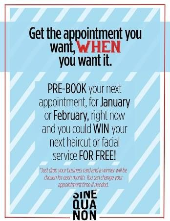 Pre-book to get the appointment you want, when you want it! #SQNChicago