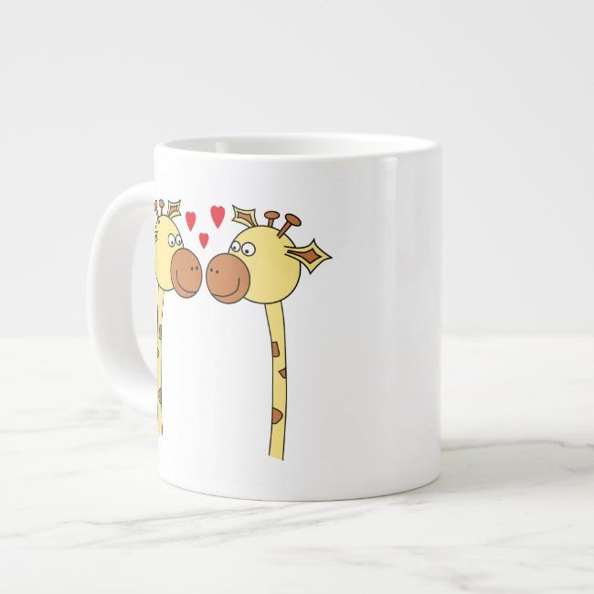 Two Giraffes With Red Love Hearts Cartoon Giant Coffee Mug Zazzle Com Mugs Personalized Coffee Mugs Red Love Heart