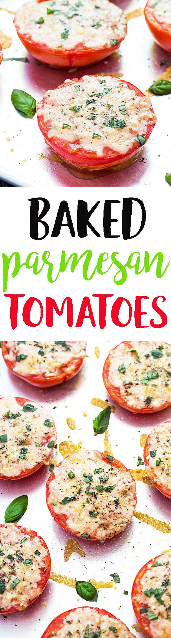 Baked Parmesan Tomatoes - These are so amazing! Baked tomatoes with a cheesy herb topping ready in 20 minutes!