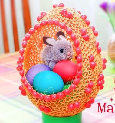 DIY Giant Easter egg from dried pasta // Óriás húsvéti tojás száraztésztából (száraztészta tojás) // Mindy - craft tutorial collection // #crafts #DIY #craftTutorial #tutorial