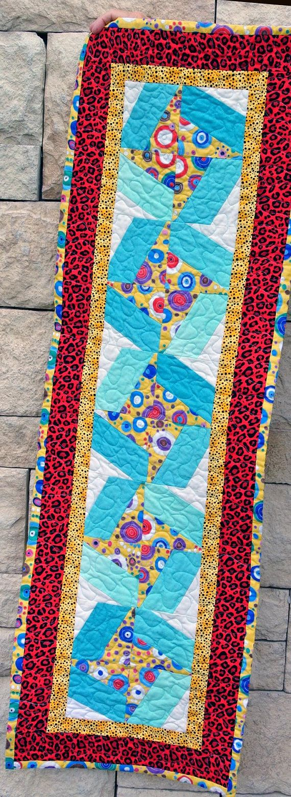 Ready to Ship Quilted Red Yellow Turquoise от TriangleQuilting