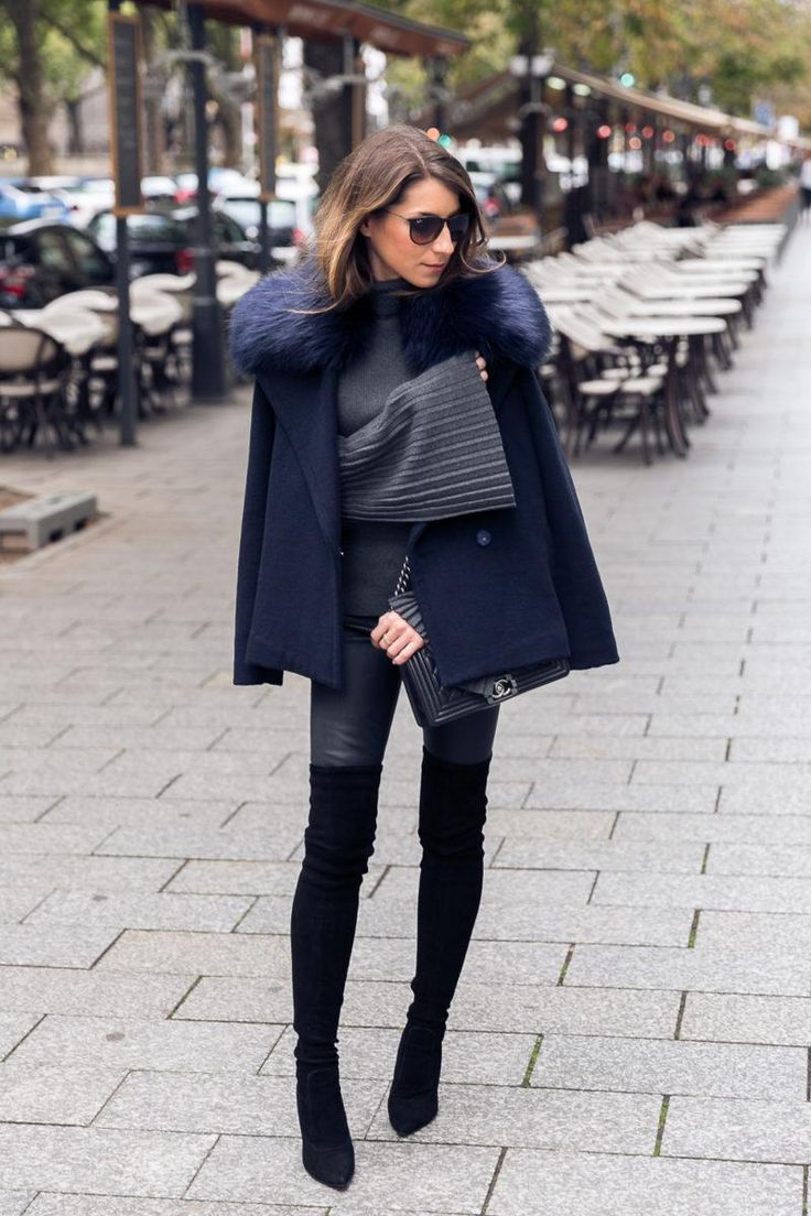 Outfit Over The Knee Boots Statement Sleeves Leather Pants