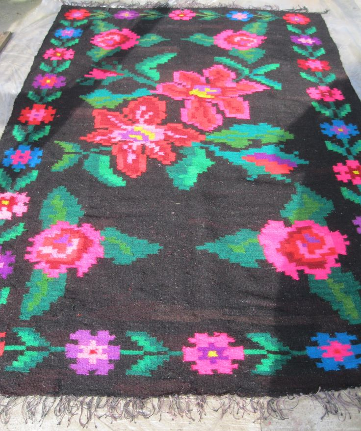 Vintage hand woven Romanian traditional wool carpet from Transylvania .  For sale at www.greatblouses.com