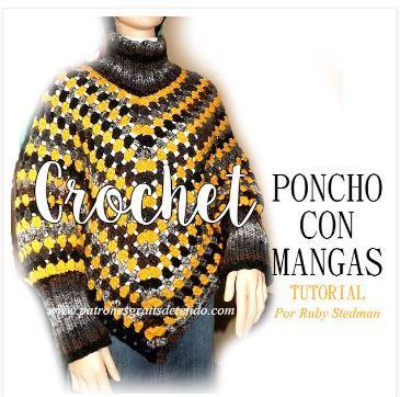 Poncho en punto de abuelita con mangas paso a paso crochet