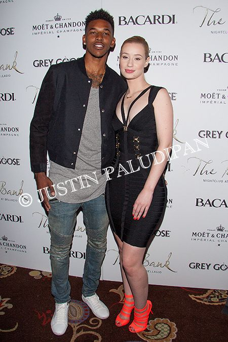 Iggy Azalea and Nick Young at The Bank Nightclub at The Bellagio Hotel and Casino on May 24, 2014 in Las Vegas, Nevada.