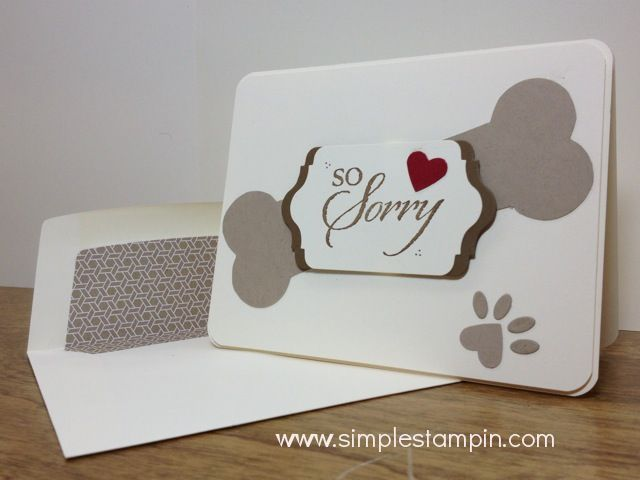 Dog Sympathy Stampin' Up! Card using the So Sorry Stamp Set and some creativity!