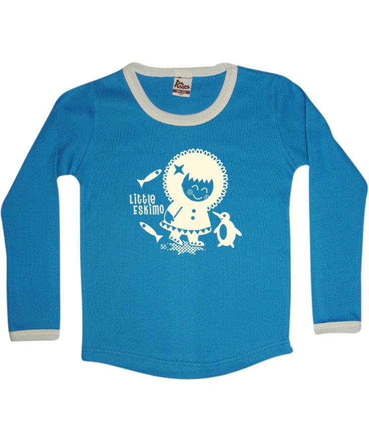 My Roots schattig blauwe t-shirt met kleine eskimo. my-roots.nl.emilea.be