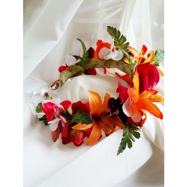 TROPICAL FLOWER CROWN Hawaiian Tropical Headpiece, Bridal, Orchids,... ❤ liked on Polyvore featuring accessories, hair accessories, flower hair accessories, flower crown, bridal flower crown, bridal floral crown and hawaiian hair accessories
