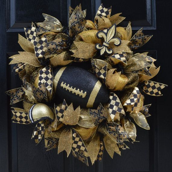 Ready To Ship  Saints Wreath New Orleans by WelcomeHomeCreative