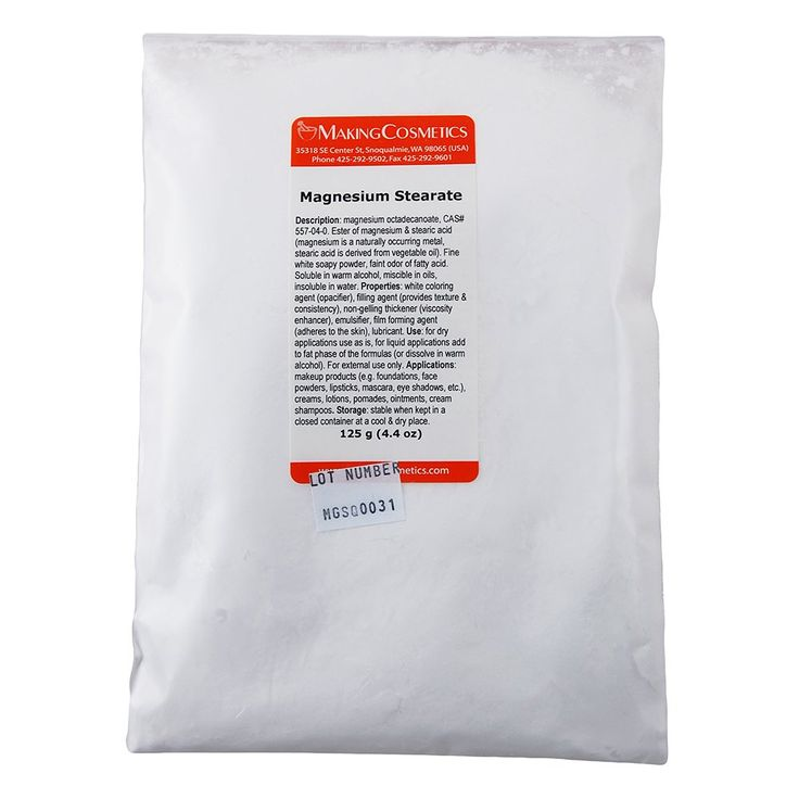 Magnesium Stearate - 4.4oz / 125g. Whitening Texturizer with Emulsifying Properties. Item is non-returnable. Not a finished cosmetic product. Consists of raw materials. Used as ingredient for personal care products (typical concentration varies). INCI Name: Magnesium stearate. CAS: 557-04-0.