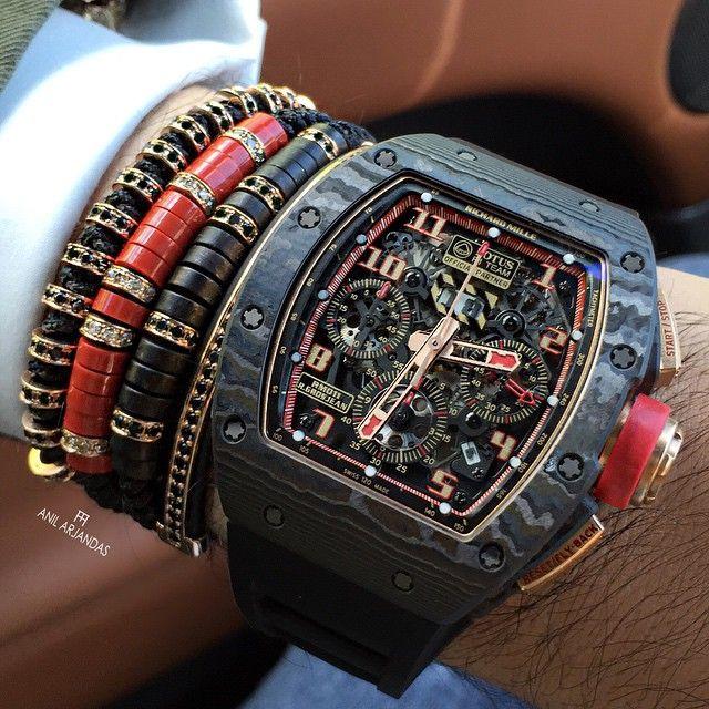 Wristwear: Richard Mille & bracelets   via Anil Arjandas