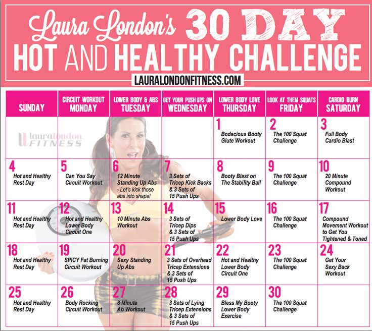 30 Day Workout Challenge Calendar with Laura London Fitness