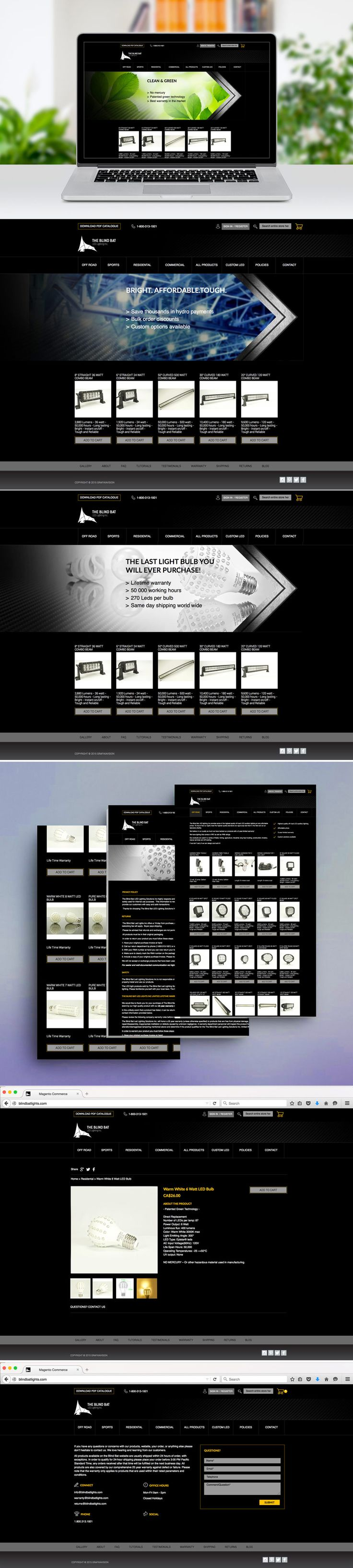 The Blind Bat Led Lighting Solutions Inc is a manufacturer, retailer, and distributor of LED lighting and accessories. Grafikavision team worked with Blind Bat Lighting to create a custom e-commerce Magento website.