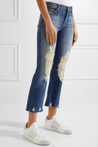 J Brand - Selena Distressed Cropped Mid-rise Bootcut Jeans - Mid denim - 29