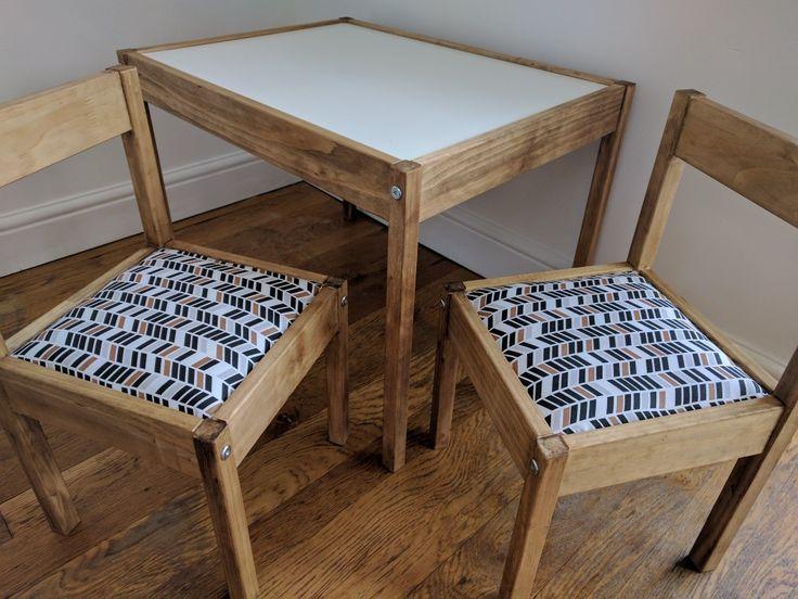 Ikea Latt hack. Liberon Bison Dark Oak wax with padded seats