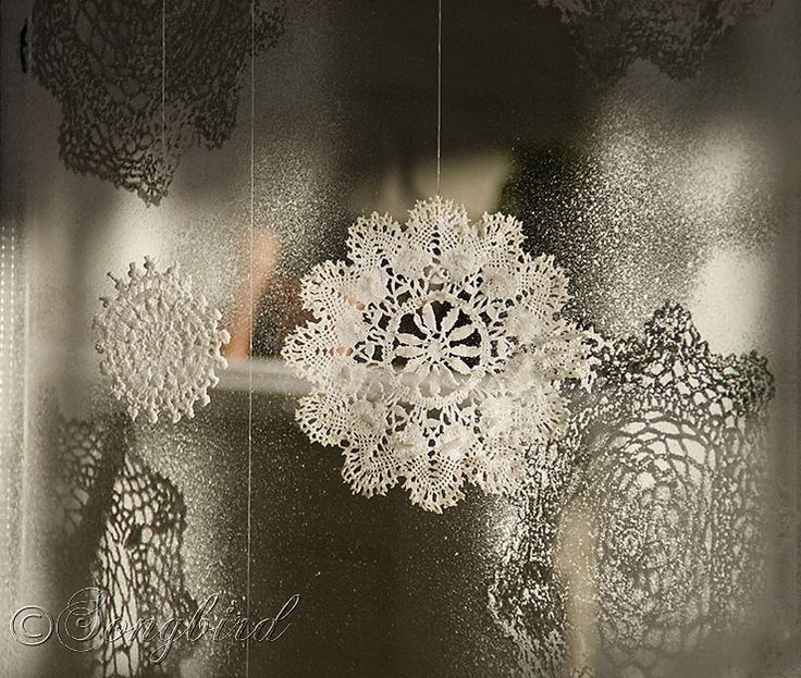 Faux Ice Flowers for your Windows. A Christmas Craft with Doilies and flour water thick wash.