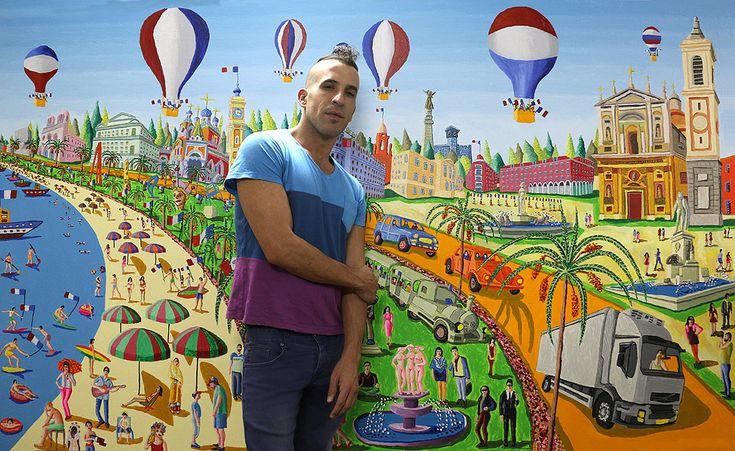 assaf henigsberg modeling for raphael perez painting Nice city 2016 bastille…
