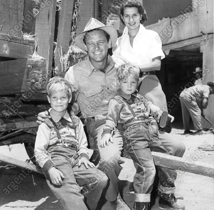 """William Holden with his family on the set of """"Boots Malone"""" (1952)"""