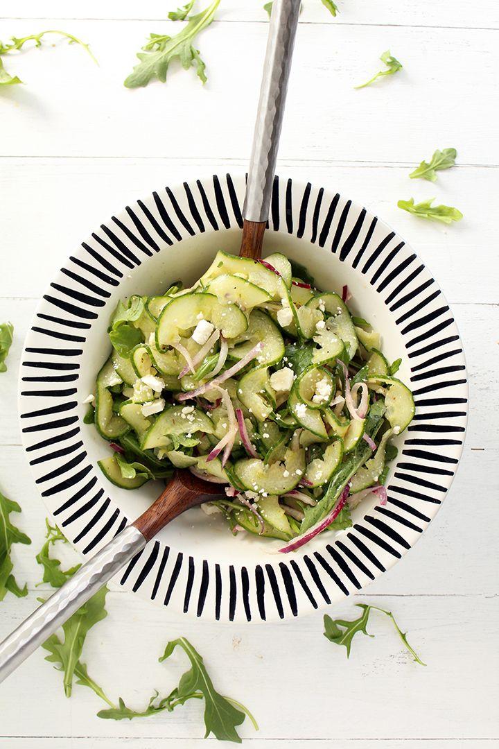 Cucumber Noodle, Feta, Arugula and Onion Salad with Red Wine Oregano Vinaigrette