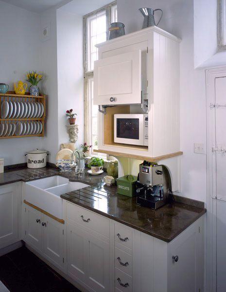 hidden microwave/ dish rack