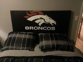 pallet signs, diy, home decor, painted furniture, pallet, repurposing upcycling, woodworking projects, Broncos headboard for my son this is on pine boards though