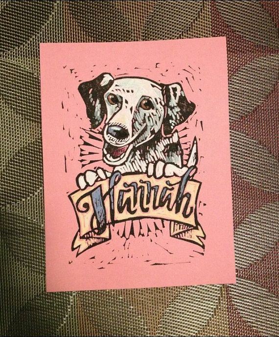 Custom Lino Cut Pet Portraits by Paula Pindroh! <3 So Much Love <3