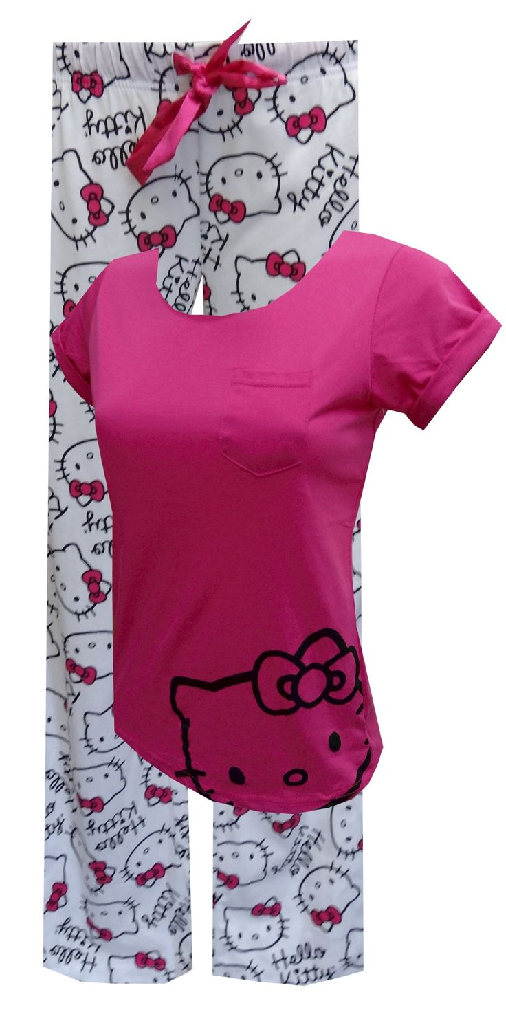 Kitty Fever Hello Kitty Hot Pink Pajama Set Do you have Kitty fever like we do? This pajama set for women is perfect for lounging around in style. The tee has a tacked cap sleeve to give a rolled effect and a raw edge at the neck. The all-over print bottoms have a 29 inch inseam. They have an elastic and a double side satin ribbon tie. Junior Cut.