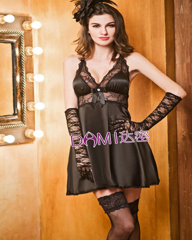 ==> [Free Shipping] Buy Best Brand Top Grade Sexy Lingerie Women Silk Pajamas Black/Pink Lace Chemises With Gloves Valentine Gift S6235 Free Shipping Online with LOWEST Price | 32766363235