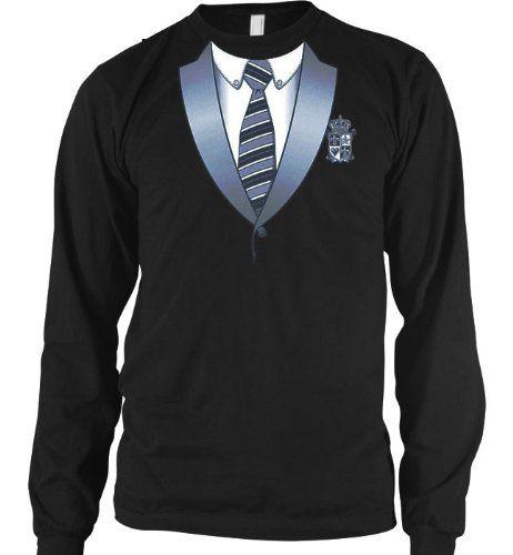 Varsity Style Tuxedo Mens Thermal Shirt Funny Trendy Gag Fake Tux Necktie Mens Long Sleeve Thermal Shirt Small Black