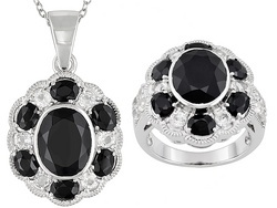Black Spinel And White Topaz Ring And Pendant From