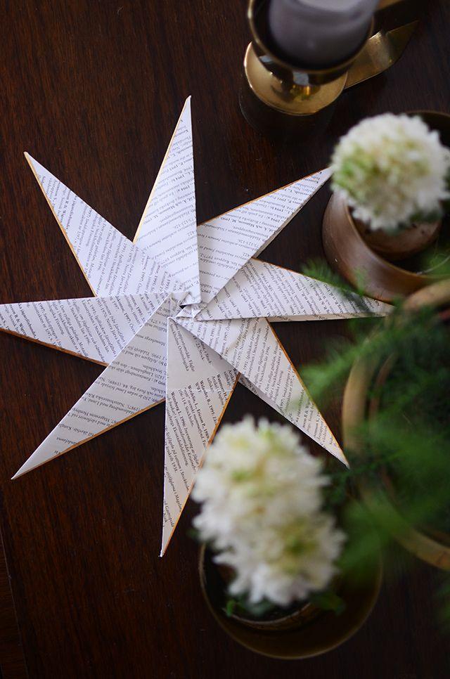 Vik pappersstjärna med guldkant. Beskrivning steg för steg