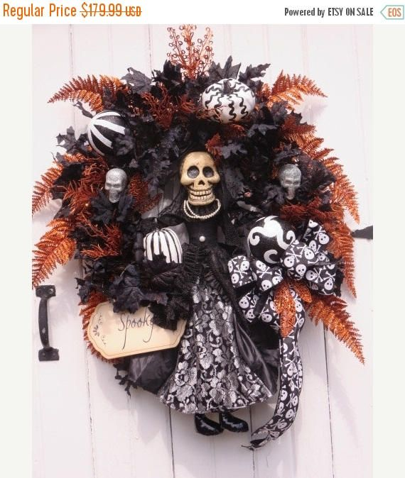 CIJ JULY SALE Halloween Door Wreath Halloween Skeleton