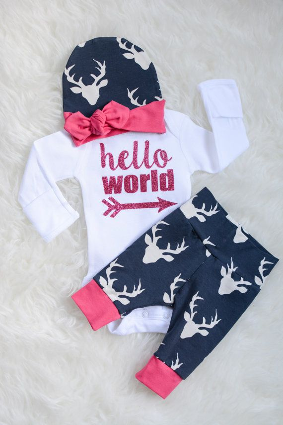 Newborn Baby coming home outfit Buck Navy Deer and by GigiandMax