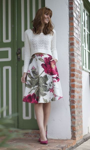 pink floral skirt with white sweater