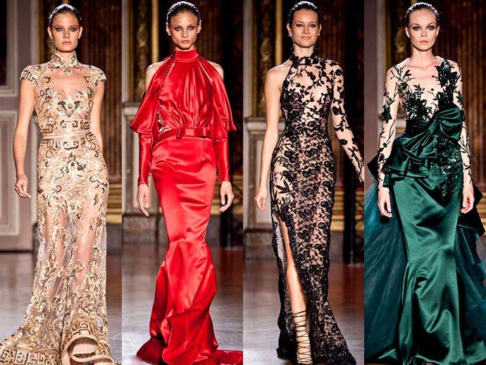 На фото модели демонстрируют вечерние платья Zuhair Murad